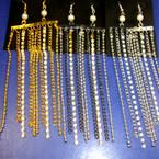 "4"" Multi Chain & Stone Earring w/ Pearl 3 colors"