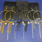 "3.5"" Hoop Earring w/ pearls & Dangle Chains & Rhinestone Drop .33 ea"