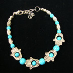 Silver & Turquoise Bead Bracelet w/ Hand of Protection (3061) .54 ea