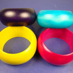 "1.5"" Wide Asst Color Wood Bangle Bracelet .58 ea"
