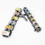 2 Pack Hematite Stretch Bracelet w/ Mixed Saint Pictures & Cross Charm (3111)