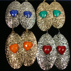 """3"""" Gold & Silver Hammered Look Earring w/ Heart . 33 ea"""