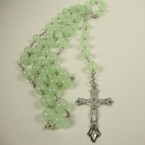 "36"" Beaded Glow in the Dark Rosary w/ Silver Cross w/ Jesus .54 ea"