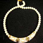 "16"" Pearl Necklace w/ 3"" Gold Bar w/ Crystal Stones & Pearls sold by pc"