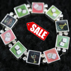 Hologram Casino Theme Bracelet w/ Crystal Stones 3 per pack SALE ITEM .50 ea