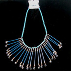 "18"" Wood Bib Style Neck Set Blue w/ Dangle Crystal Beads sold by set"
