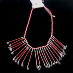 "18"" Wood Bib Style Neck Set Burgundy w/ Dangle Crystal Beads 6 per pk .60 each"