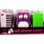 SIlicone iPhone Case Mixed Styles Fits 4/4S (749-4) 24 per display bx