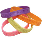 Embossed with God Loves Me Band Bracelets .17 EACH