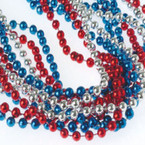 Silver,Red & Blue Patriotic Metallic 6MM Bead Necklace 12 per pack .15 EACH