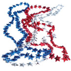 "32"" Red ,White and Blue Star Bead Necklaces 12 per pk .20 EACH"