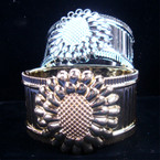 """1.5"""" Gold & Silver Hinged Bangle w/ Flower Brust .25 EACH"""