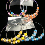 "3"" Silver Hoop Earring w/ Colorful Stone Look Beads .25 EACH PR"