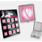 Pink Ribbon Theme Metal Pill Box 12 per display $ .85 PER PC