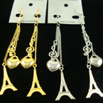 "3"" Gold & Silver Chain Earring w/ Heart & Tower Charms .50"