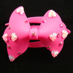 """7 Color 4"""" Soft Touch Fabric Fashion Jaw Clips w/ Hearts .50 ea"""