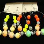 "2.5"" Silver Hoop Earring Neon Color Beads REDUCED .33 ea"