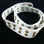 White DBL Wrap Leather Bracelet w/ Studs  .45 ea