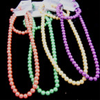 "16"" Glass Pearl Neck Set w/ Bracelet 10 Asst Colors .54 ea"