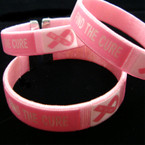 Two Tone Pink Silk Cuff Bangle Find the Cure Theme 12 per pk .45 ea