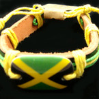 Teen Leather Bracelet w/ Jamaica Flag Color Theme  .54 ea