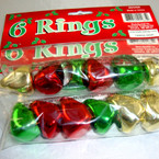 Plastic Metallic Holiday Rings. Asst colors 6 bags of 6 rings per package