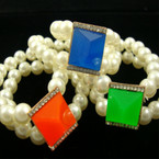 2 Line Pearl Stretch Bracelet w/ Square Neon Bubble Stone w/ Crystals .54 ea