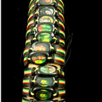 Teen Leather Bracelet w/ Rasta Colors & Oval Pic .54 ea
