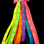 6 Pk Neon Color Peace Sign Stretch Headbands .54 per set