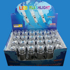 "4"" Silver LED Flashlight 24 per display box .58 ea"