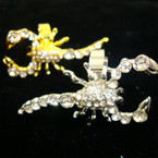 Gold & Silver Crystal Stone Scorpion Rings  ON SALE .25 each