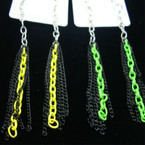 "4"" Black & Neon Color Funky Chain Earring .33 ea"