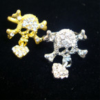 Gold & Silver Pirate Style Ring w/ Dangle  Heart & Crystal Stones .54 ea