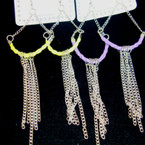 "4"" Silver Chain Fashion Earring w'/ Colored Braid Cord"
