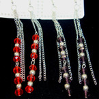 "4"" Multi Silver Chain Earring w'/ Crystal Beads REDUCED .33 ea"