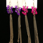"4"" Multi Dark Silver Chain Earring w'/ Cluster Colored Beads"