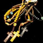 Wood Beaded & Crochet Rope Rosary w/ Cross w/ Jesus Browns/Blk .54 ea