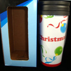"6"" Christmas Theme Travel Thermal Mug ind. boxed sold by dz"