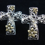 Victorian Style Two Tone Cross Ring w/ Crystals .56 ea