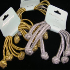 4 Pk Extreme Elastic Ponytailers w/ Knot Ends Gold & Silver  per dz