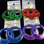"2.5"" Winter Color Fashion Earring w/ Frosted Gold Top .54 ea"
