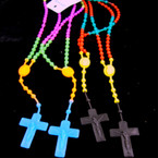 2 Pack Silicone Kid's Rosary w/ Cross w/ JESUS Asst Brights 12-2pks per bag