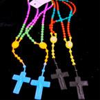 2 Pack Silicone Kid's Rosary w/ Cross w/ JESUS Asst Brights 12-2pks per bag