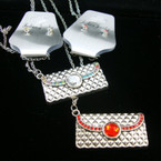 "24"" Silver Chain Neck Set w/ 2"" Silver Crystal Stone Textured Purse Pendant .50 ea"