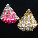 Gold/Silver Diamond ShapedCrystal Stone Ring Mixed Colors .25 ea