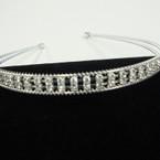 Silver 2 Line Wire Headband w/ DBL Row Rhinestones Clear Stones .56 ea