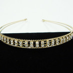 Gold 2 Line Wire Headband w/ DBL Row Rhinestones Clear Stones .56 each