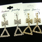 "2"" Gold & Silver Rhinestone Fashion Earrings w/ Bow"