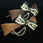 "3.75"" Lg. Jaw Clip w/ Leather Look Fabric & Bow w/ Shiney Stones"