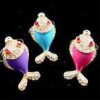 Crystal Stone Tail & Head Colorful Fish Ring